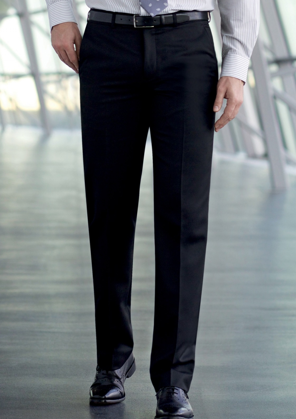 New Brook Taverner Apollo Mens Flat Front Work suit trousers NAVY-choose size